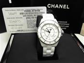 Chanel J12 Diamond White Ceramic Midsize Unisex Watch H1629 With Box & Papers